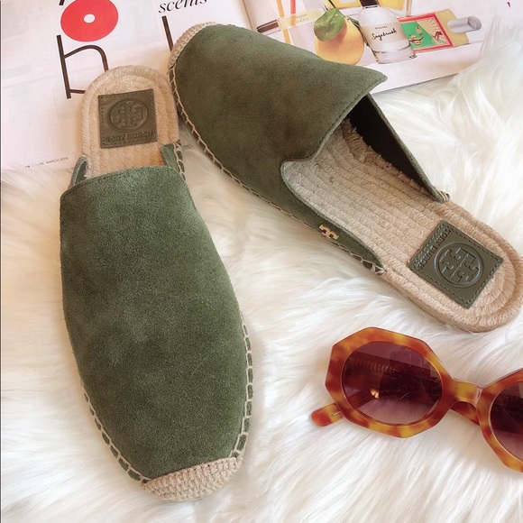 bcc779038 Tory Burch Shoes | Max Espadrille Green Suede Slides 95 | Poshmark